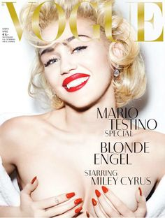Miley Cyrus has stripped down once again, and this time she's topless, channeling Marilyn Monroe in the Mario Testino shoot for Vogue Germany. Noah Cyrus, Mario Testino, Madonna, Fashion Magazine Cover, Vogue Magazine, Magazine Covers, Magazine Photos, Hannah Montana, Emilio Pucci