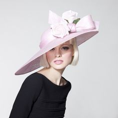 Pastel pink sinamay assymetrical brim, trimmed with silk rosebuds | Dillon Wallwork | Spring/Summer Collection