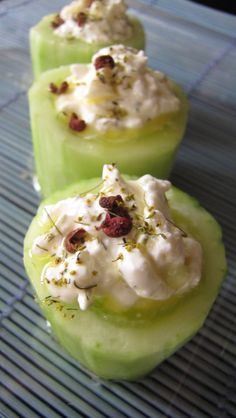 Cucumber Cups with a Feta-Dill Stuffing and Lemon-Szechuan Dressing  Makes 1 cucumber (4-5 pieces).   1 cucumber 2 oz. crumbled feta cheese 2 TBS sour cream 3/4 tsp. dill pollen 2 TBS lemon juice 1/4 c. olive oil Szechuan peppercorns, ground/grated, to taste Dill pollen, for finishing