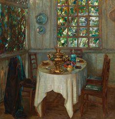 Жуковский Станислав Юлианович (1873-1944) «Натюрморт с самоваром» 1914