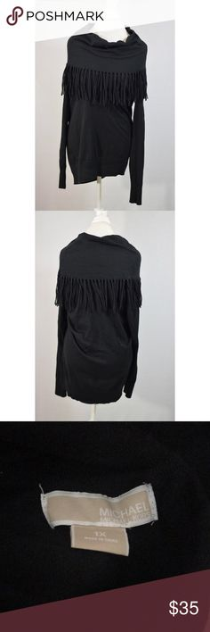 "Michael Kors Cowl Neck Black Fringe Sweater Great condition. 32"" L 22"" pit to pit Michael Kors Sweaters"