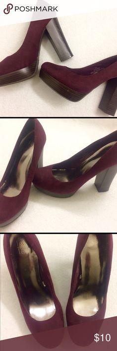 "Burgundy/Purple Heels 👠 Mossimo Burgandy/Purple Suede 4"" Heels. Mossimo Supply Co. Shoes Heels"