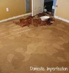 1 Paper Bag Floor If you need new flooring but don't have the money! Create this floor out of brown paper, Elmers glue, stain & polyurethane. It is easy to do (albeit time consuming) & is very durable. This room is 10 X 12 & cost $80, but future rooms will cost about $30 since I have leftover supplies. Glue the paper down using a 50-50 glue water mix.This took about 10 hours over multiple days. Mop on the stain apply 12 coats of poly! The finished floor looks like old leather