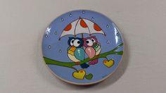 ceramica come mestiere: Piatti da parete in ceramica con gufi. Tecnica Cuerda Seca.