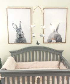 Bunny nursery. Posters from etsy and mobile hand made. Pink and gray nursery. Black and white.