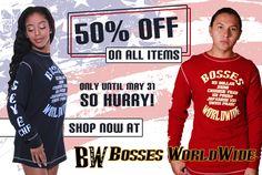 Enjoy 50% #discount on all items to celebrate #MemorialDay weekend! Shop @ http://www.bossesworld.com/