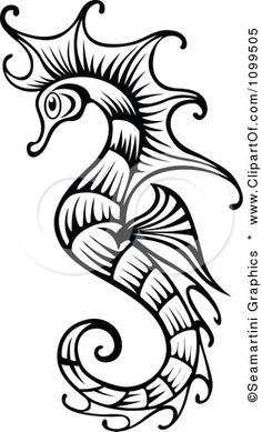 Clipart Ornate Black And White Seahorse - Royalty Free Vector Illustration by Seamartini Graphics