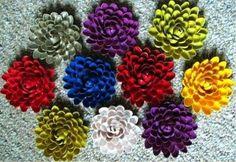 Flores de plástico, diferentes colores