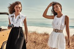 TWINSET Simona Barbieri, 2017 Summer collection with #EmilyRatajkowski and #SashaPivovarova: pleated dress, pearl necklace, top, lace trousers and leather belt.