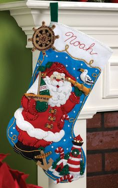 Bucilla  Nautical Santa  18 Christmas Stocking Kit