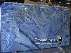 Azul Bahia Granite Slab, Brazil Blue Granite from United the Details Include Pictures,Sizes,Color,Material and Origin. You Can Contact the Supplier - Granite by Us. Blue Granite Countertops, Granite Slab, Marble Slabs, Granite Colors, Granite Tops, Concrete Kitchen, Granite Kitchen, Kitchen Counters, Contemporary Kitchen Design