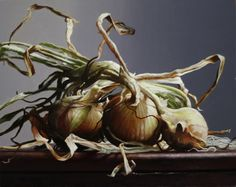 "Larry Preston, ""Three Onions No. 2,"" 8x10, oil on panel -- at Principle Gallery"