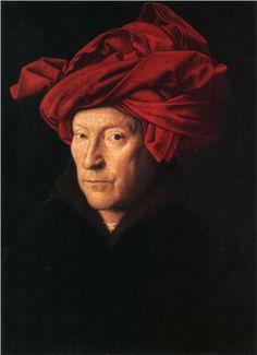 Jan van Eyck, Man met rode tulband (vermoedelijk zelfportret) 1433 National Gallery Londen