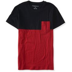 Aeropostale Flecked Colorblock Pocket Tee ($6) ❤ liked on Polyvore featuring men's fashion, men's clothing, men's shirts, men's t-shirts, tops, red sky, mens red shirt, aeropostale mens shirts, mens color block shirt and mens cotton t shirts