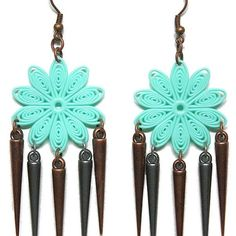 Aqua Turquoise Floral Earrings with Copper & Silver Spike Drops - JnE