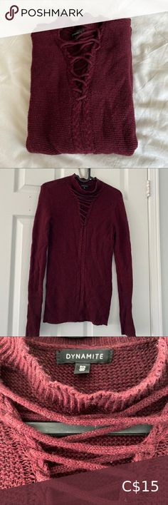 Dynamite V-neck Knit Sweater Good Used Condition. Colour: Maroon Dynamite Sweaters V-Necks Plus Fashion, Fashion Tips, Fashion Trends, Sweaters For Women, Turtle Neck, V Neck, Colour, Knitting, Outfits