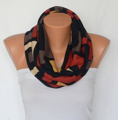 Tribal cotton jersey infinity scarf circle scarf spring by bstyle, $24.00