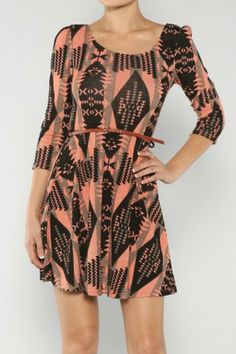 Tribal Belted Dress If you love dresses salediem has the look for Fall #salediem #fall#fashion. Shipping is FREE!