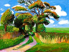 The Tunnel, Early Autumn by David Hockney, October 2005 David Hockney Landscapes, David Hockney Art, David Hockney Paintings, Landscape Art, Landscape Paintings, Pop Art Movement, Famous Art, Arte Pop, Painting & Drawing
