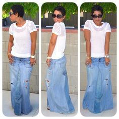 Deconstructed Jeans into Maxi Skirt