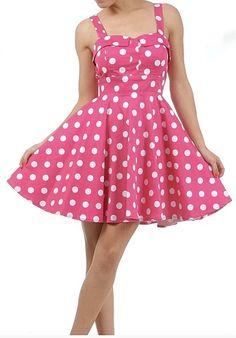 Retro Polka Dot Swing Dress in Pink