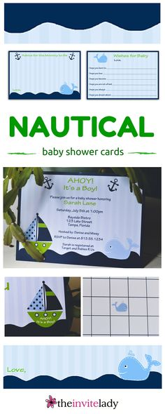 Boy baby shower nautical theme navy blue invitations with green, whales, sail boats, light blue and dark blue stripes, and royal blue waves. Check out more Baby Shower Invitations, Thank you cards, Bingo games and more at www.theinvitelady.com.