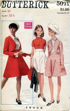 Sewing Patterns,Vintage,Out of Print,Retro,Vogue Simplicity McCall's,Over 7000 - Butterick 5071 Retro 1970's Mod Suit Jacket Skirt Blouse
