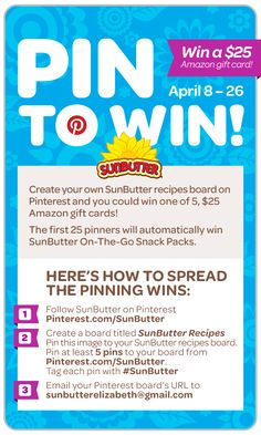 #SunButter Pin it to Win it Contest - Win an Amazon gift card!
