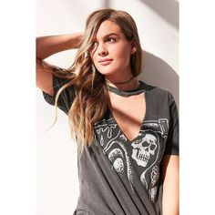 Truly Madly Deeply Cutout Moto Tee (€39) ❤ liked on Polyvore featuring tops, t-shirts, graphic design t shirts, cotton crew neck t shirts, crew neck t shirt, short sleeve graphic tees and cotton t shirts