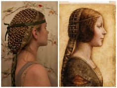 renaissance hairstyles, young woman with hairnet, decorated with pearls and gold. Modern Hairstyles, Loose Hairstyles, Braided Hairstyles, Renaissance Hairstyles, Historical Hairstyles, Medieval Fashion, Medieval Clothing, Photomontage, Cute Side Braids