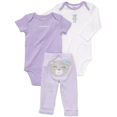 """Carter's Girls 3 Piece Turn Me Around Set with Long Sleeve Bodysuit, Short Sleeve Bodysuit, and Pant - Carters - Babies """"R"""" Us"""
