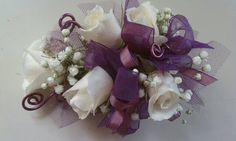 how to wire a corsage rose | White rose wrist corsage with purple wire and ribbon accents