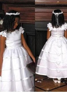 product line scoop neck lace tulle ankle length ruffles flower girl dresses