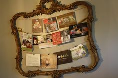 Christmas card display in old mirror