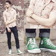 Marc By Marc Jacobs Shirt, H Jeans, Converse Sneakers, Casio Watch Green Converse, Jeans And Converse, Outfits With Converse, H&m Jeans, Converse Sneakers, Sneakers Outfit Men, Green Sneakers, High Top Sneakers, Running Sneakers