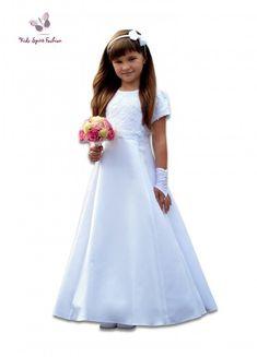 e8cd78b3211899 Eerste Communie jurk met kant voor meisjes. Lang model met lange A-lijn rok