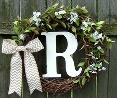 Monogrammed Wreath - Summer Wreath - Fall Wreath - Wreath with Monogram Initial by countryprim on Etsy Easy Fall Wreaths, Diy Spring Wreath, Easter Wreaths, Grapevine Wreath, Burlap Wreath, Door Wreaths, Monogram Wreath, Monogram Initials, Tiny White Flowers