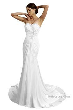 Sheath Lace-up Beaded Chiffon Wedding Dresses http://www.ikmdresses.com/Sheath-Lace-up-Beaded-Chiffon-Wedding-Dresses-p89176