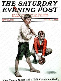 Sandlot Baseball by Anton Otto Fischer, May 14, 1910, The Saturday Evening Post.