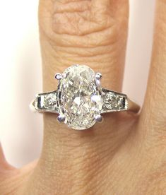1930s...2.12ct Antique Vintage Platinum OVAL Cut Diamond  SOLITAIRE Engagement Ring via Etsy.