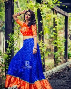 Looking for best half saree blouse designs, check out 30 cool blouse models and patterns that will make you look stunning on any half saree. Half Saree Designs, Lehenga Designs, Saree Blouse Designs, Half Saree Lehenga, Lehnga Dress, Anarkali, Bollywood Lehenga, Saree Gown, Lehenga Blouse