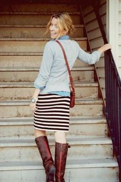 fall outfit: striped skirt, chambray underneath a sweater