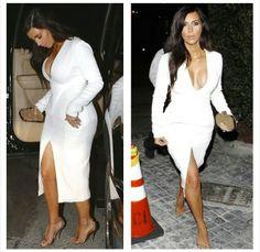 "Kimmy wearing a #WesGordon SS14 ""RTW"" dress #TomFord sandals #BottegaVeneta clutch"