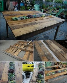 Just WOW!! Succulent-Center Table - 35 Ingenious Outdoor Pallet Projects for All Types of DIYers