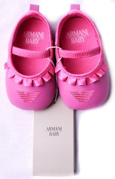 Armani Baby Pink Shoes... Way cute, but I can't bring myself to pay $70 for baby shoes.
