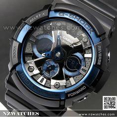 Casio G-Shock Matte Black with Blue Limited Sport Watch GA-200CB-1A, GA200CB