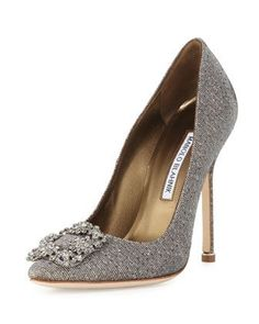 Hangisi Crystal-Buckle Shimmery Pump, Gold by Manolo Blahnik at Neiman Marcus Stilettos, Pumps Heels, Manolo Blahnik Hangisi, Crystal Shoes, Clear Shoes, Designer Heels, Fashion Heels, Women's Fashion, Pointed Toe Pumps