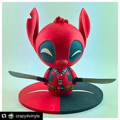"""Funko Pop! Vinyl Fan Page on Instagram: """"When a Disney mischief maker meets rated """"R"""" Marvel - By @crazy4vinyls . ・・・#Repost My first Dorbz custom-DeadStitch or StitchPool whatever you want to call him, hope you like him and he is for sale $55 shipped if anyone is interested. I have a few more Dorbz molds so keep your eyes open. #funkofunatic #funkodorbz #stitch #deadpool #disney #marvel #funkofamily #funkomania @originalfunko @popvinyl"""""""