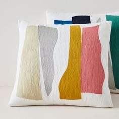 The abstract motif of our Crewel Wavy Cutouts Pillow Covers comes to life with pops of color and hand-done embroidery. An instant upgrade to any space, they add a piece of modern art to your reading nook or bed. Mirror Wall Art, Frame Wall Decor, Frames On Wall, Cotton Bedding, Linen Bedding, Bed Linen, Velvet Pillows, Throw Pillows, Lumbar Pillow