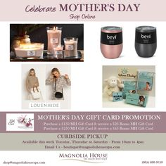 Mother's Day is this Sunday and we are making your shopping experience a little easier. Lots of great gift ideas on our online Shop that we know mom would really love.💞 Email us for any special requests or assistance with our shop. Go to: shop@magnoliahousespa.com . . #shop #fashion #love #shopping #style #store #shoplocal #mothersday #mom #mothersdaygift #bevi #warmbuddy #woodwick #louenhide #giftideas #gift #giftshopiftsforher #magnoliahousespa #Waterdownbia #Waterdown #Burlington… Mother's Day Gift Card, Gift Card Promotions, Style Store, Magnolia Homes, Hamilton, Great Gifts, Sunday, Gift Ideas, Make It Yourself